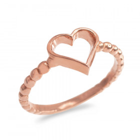 Classic Open Heart Twisted Rope Ring in 9ct Rose Gold