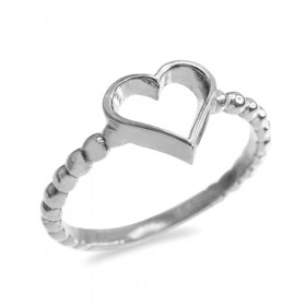 Classic Open Heart Twisted Rope Ring in Sterling Silver