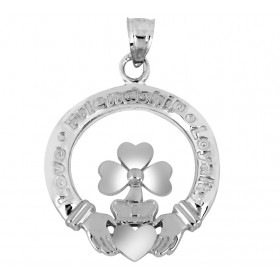 Clover Claddagh Pendant Necklace in 9ct Two-Tone Gold