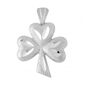 Clover Claddagh Pendant Necklace in 9ct White Gold