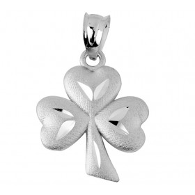 Clover Leaf Claddagh Pendant Necklace in 9ct White Gold