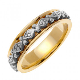 Comfort Fit Celtic Wedding Ring in 9ct Two-Tone Gold
