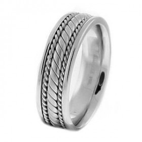 Comfort Fit Hand Braided Milgrain Wedding Ring in 9ct White Gold