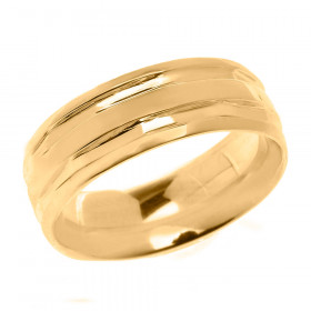 Comfort Fit Modern Decorative Wedding Ring in 9ct Gold