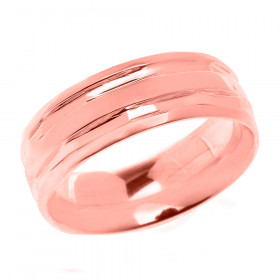 Comfort Fit Modern Decorative Wedding Ring in 9ct Rose Gold