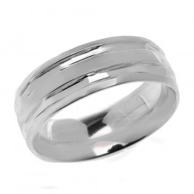 Comfort Fit Modern Decorative Wedding Ring in Sterling Silver