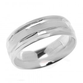 Comfort Fit Modern Decorative Wedding Ring in 9ct White Gold