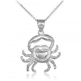 Crab Charm Pendant Necklace in 9ct White Gold