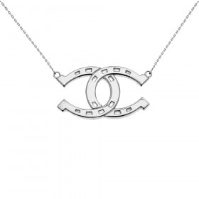 Criss Cross Horseshoe Pendant Necklace in 9ct White Gold
