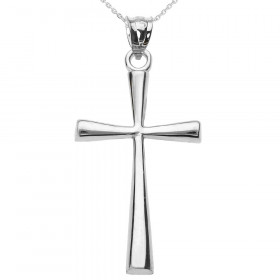 Cross Pendant Necklace in 9ct White Gold