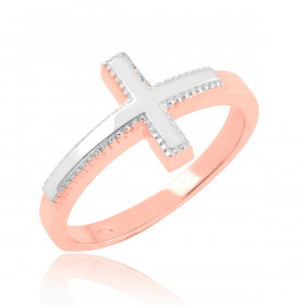Cross Ring in 9ct Two-Tone Gold