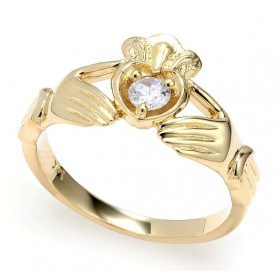 0.16ct Crown Heart Claddagh Ring in 9ct Gold