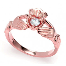 0.16ct Crown Heart Claddagh Ring in 9ct Rose Gold