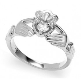 0.16ct Crown Heart Claddagh Ring in 9ct White Gold