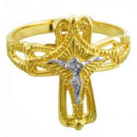 Crucifix Cross Ring in 9ct Two-Tone Gold