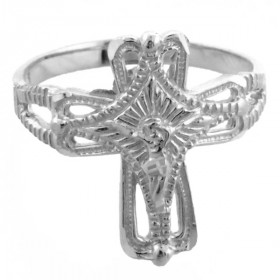 Crucifix Cross Ring in 9ct White Gold