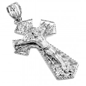 Crucifix Extra Large Cross Pendant Necklace in 9ct White Gold
