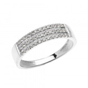 CZ Elegant Micro-Pave Modern Half Eternity Ring in 9ct White Gold