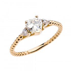 0.6ct CZ Heart Beaded Band Promise Ring in 9ct Gold