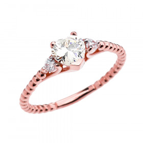 0.6ct CZ Heart Beaded Band Promise Ring in 9ct Rose Gold