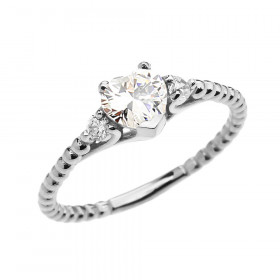 0.6ct CZ Heart Beaded Band Promise Ring in 9ct White Gold