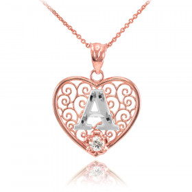 CZ Precision Cut Filigree Heart Letter A Necklace in 9ct Two-Tone Gold