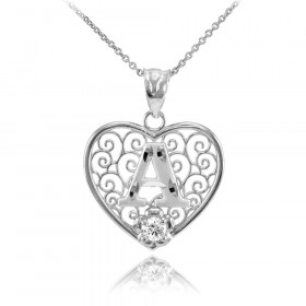 CZ Precision Cut Filigree Heart Letter A Necklace in 9ct White Gold