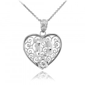 CZ Precision Cut Filigree Heart Letter D Necklace in 9ct White Gold