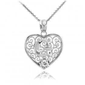 CZ Precision Cut Filigree Heart Letter G Necklace in 9ct White Gold