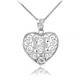 CZ Precision Cut Filigree Heart Letter H Necklace in 9ct White Gold