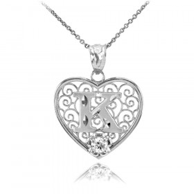 CZ Precision Cut Filigree Heart Letter K Necklace in 9ct White Gold