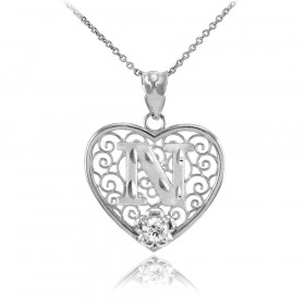 CZ Precision Cut Filigree Heart Letter N Necklace in 9ct White Gold