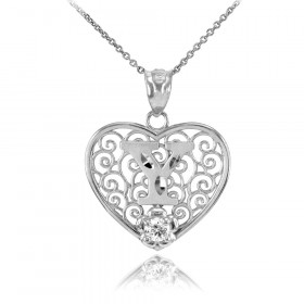 CZ Precision Cut Filigree Heart Letter Y Necklace in 9ct White Gold