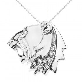 CZ Roaring Lion Head Leo Zodiac Charm Necklace in 9ct White Gold