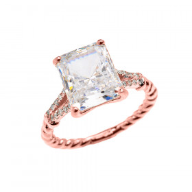 5.5ct CZ Rope Design Promise Twisted Rope Ring in 9ct Rose Gold
