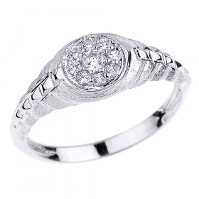 CZ Watchband Design Studded Unisex Vintage Ring in 9ct White Gold