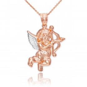 Cupid Pendant Necklace in 9ct Two-Tone Gold