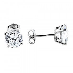 CZ 4 Prong Classic Stud Earrings in 9ct White Gold