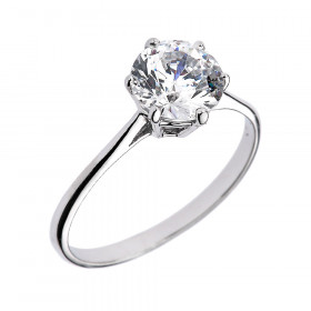 CZ 6-Prong Solitaire Engagement Ring in 9ct White Gold