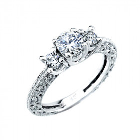 CZ Art Deco 3 Stone Engagement Ring in 9ct White Gold