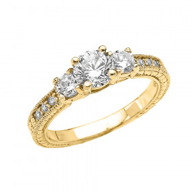 CZ Art Deco Engagement Ring in 9ct Gold