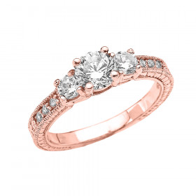 CZ Art Deco Engagement Ring in 9ct Rose Gold