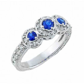 CZ Art Deco Engagement Ring in Sterling Silver