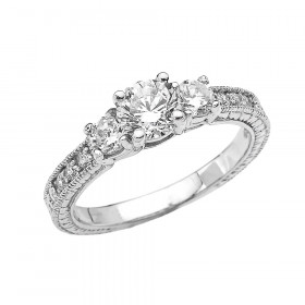 CZ Art Deco Engagement Ring in 9ct White Gold