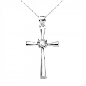 CZ Beauty Cross Pendant Necklace in 9ct White Gold