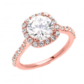 CZ Beauty Halo Engagement Ring in 9ct Rose Gold