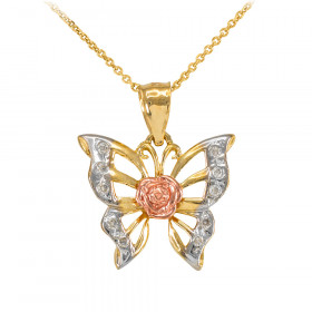 CZ Butterfly Charm Pendant Necklace in 9ct Three-Tone Gold