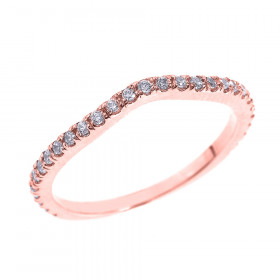 CZ Chevron Eternity Eternity Wedding Ring in 9ct Rose Gold