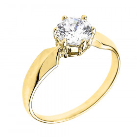 CZ Chevron Solitaire Engagement Ring in 9ct Gold