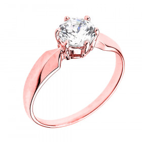 CZ Chevron Solitaire Engagement Ring in 9ct Rose Gold